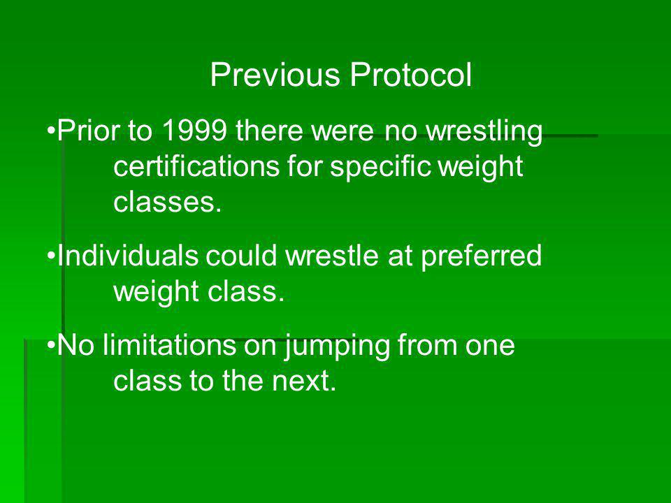 Previous Protocol Prior to 1999 there were no wrestling certifications for specific weight classes.