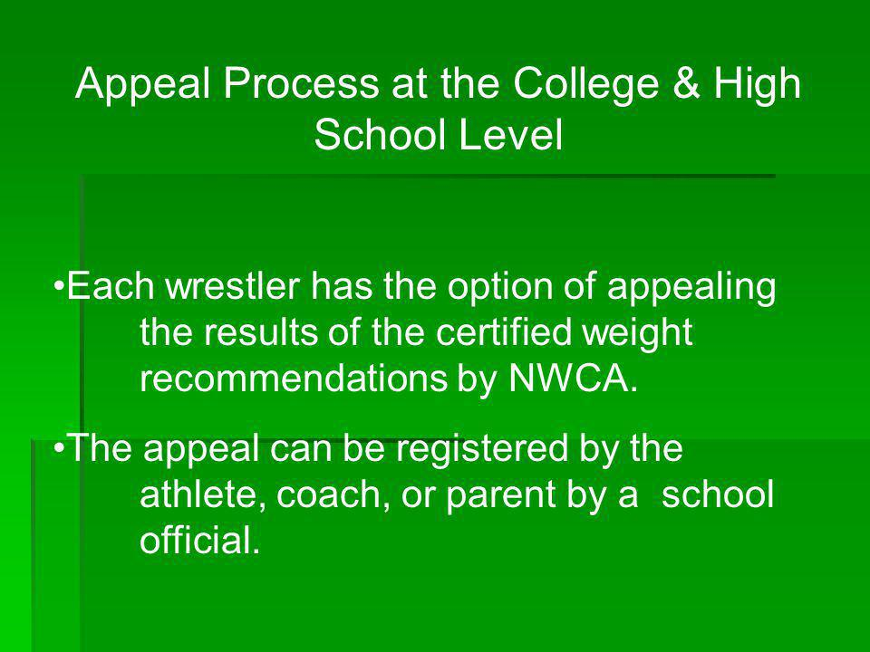 Appeal Process at the College & High School Level