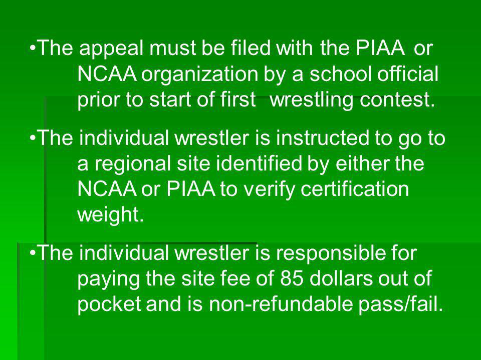 The appeal must be filed with the PIAA. or