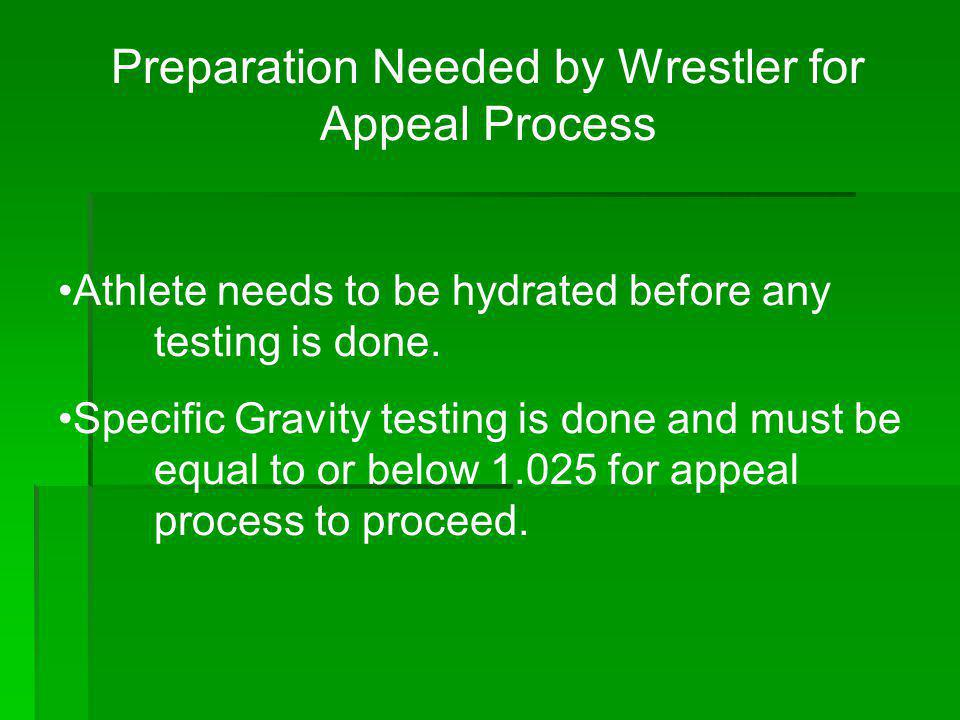 Preparation Needed by Wrestler for Appeal Process
