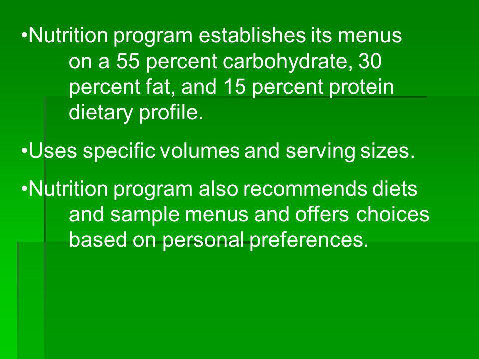 Nutrition program establishes its menus