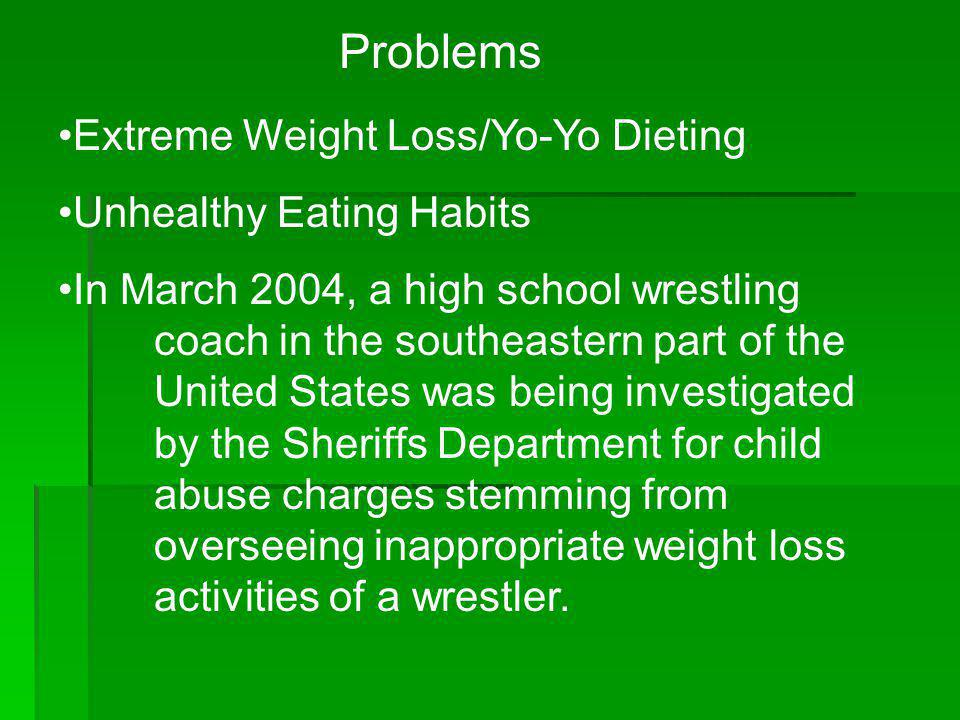 Problems Extreme Weight Loss/Yo-Yo Dieting Unhealthy Eating Habits