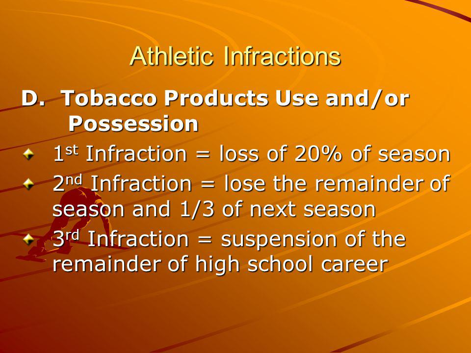 Athletic Infractions D. Tobacco Products Use and/or Possession