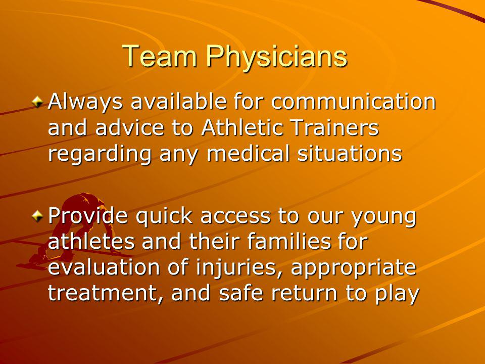 Team Physicians Always available for communication and advice to Athletic Trainers regarding any medical situations.