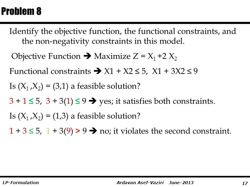 Problem 8 Identify the objective function, the functional constraints, and the non-negativity constraints in this model.