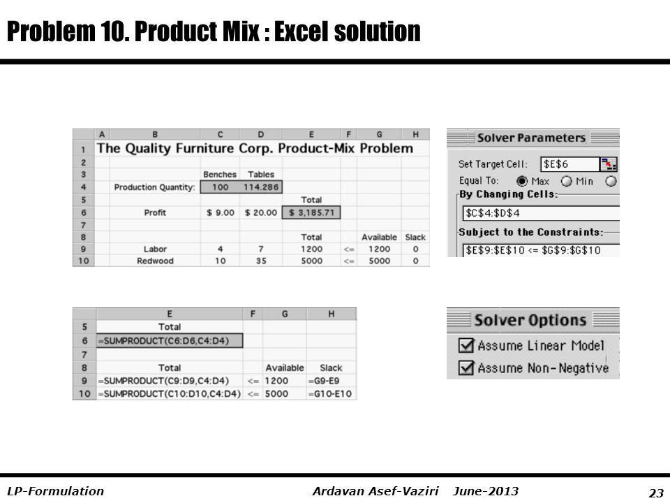 Problem 10. Product Mix : Excel solution