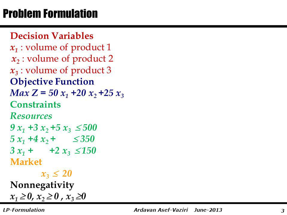 Problem Formulation Decision Variables x1 : volume of product 1