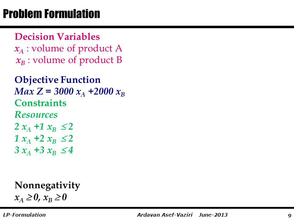 Problem Formulation Decision Variables xA : volume of product A