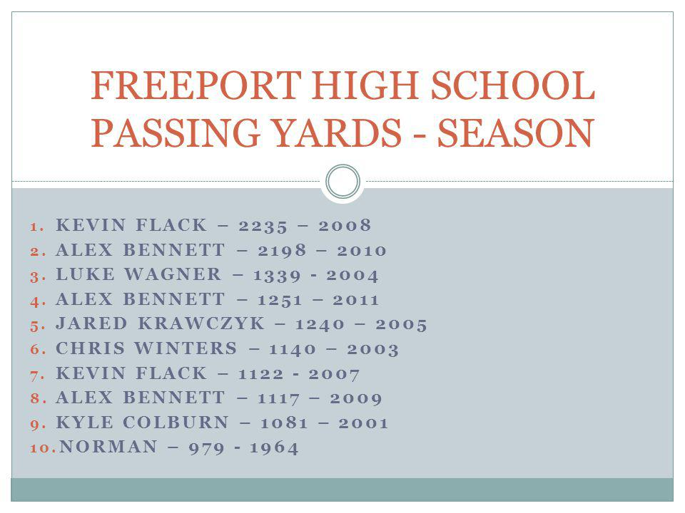 FREEPORT HIGH SCHOOL PASSING YARDS - SEASON