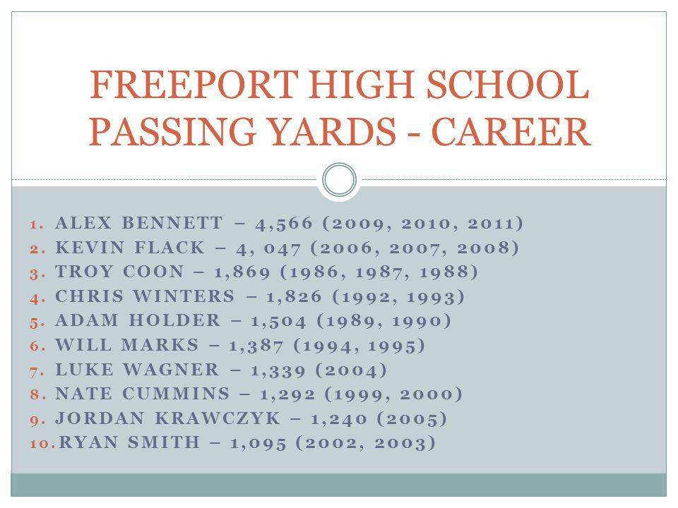 FREEPORT HIGH SCHOOL PASSING YARDS - CAREER
