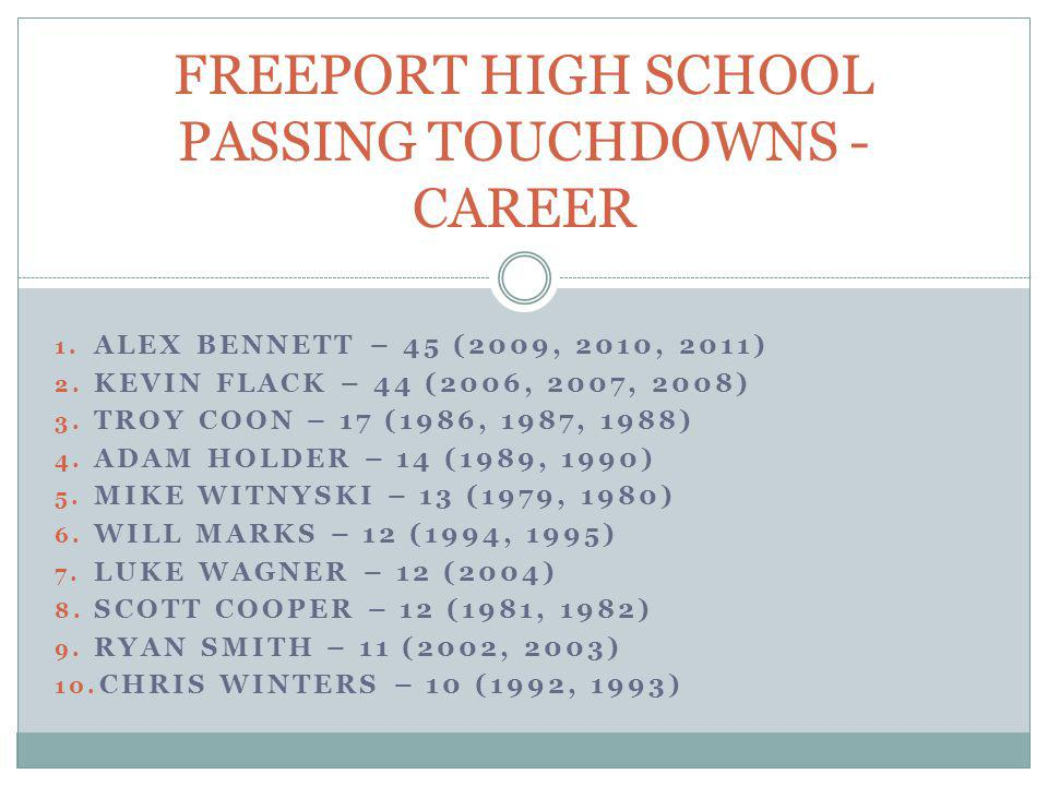 FREEPORT HIGH SCHOOL PASSING TOUCHDOWNS - CAREER