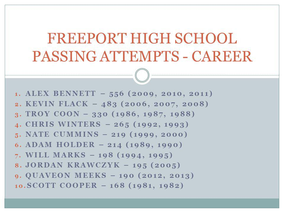 FREEPORT HIGH SCHOOL PASSING ATTEMPTS - CAREER
