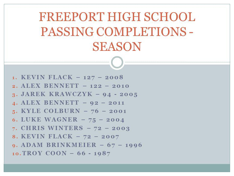 FREEPORT HIGH SCHOOL PASSING COMPLETIONS - SEASON