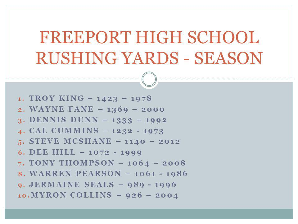 FREEPORT HIGH SCHOOL RUSHING YARDS - SEASON