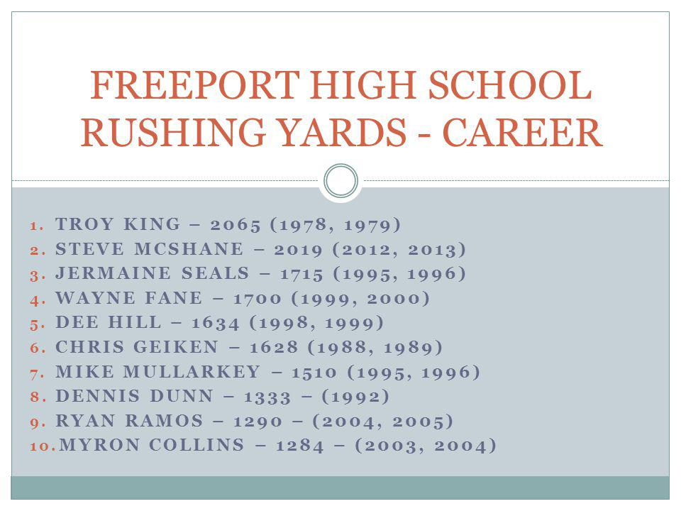 FREEPORT HIGH SCHOOL RUSHING YARDS - CAREER