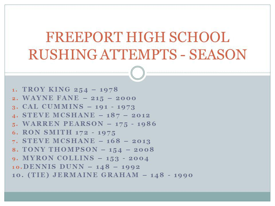 FREEPORT HIGH SCHOOL RUSHING ATTEMPTS - SEASON