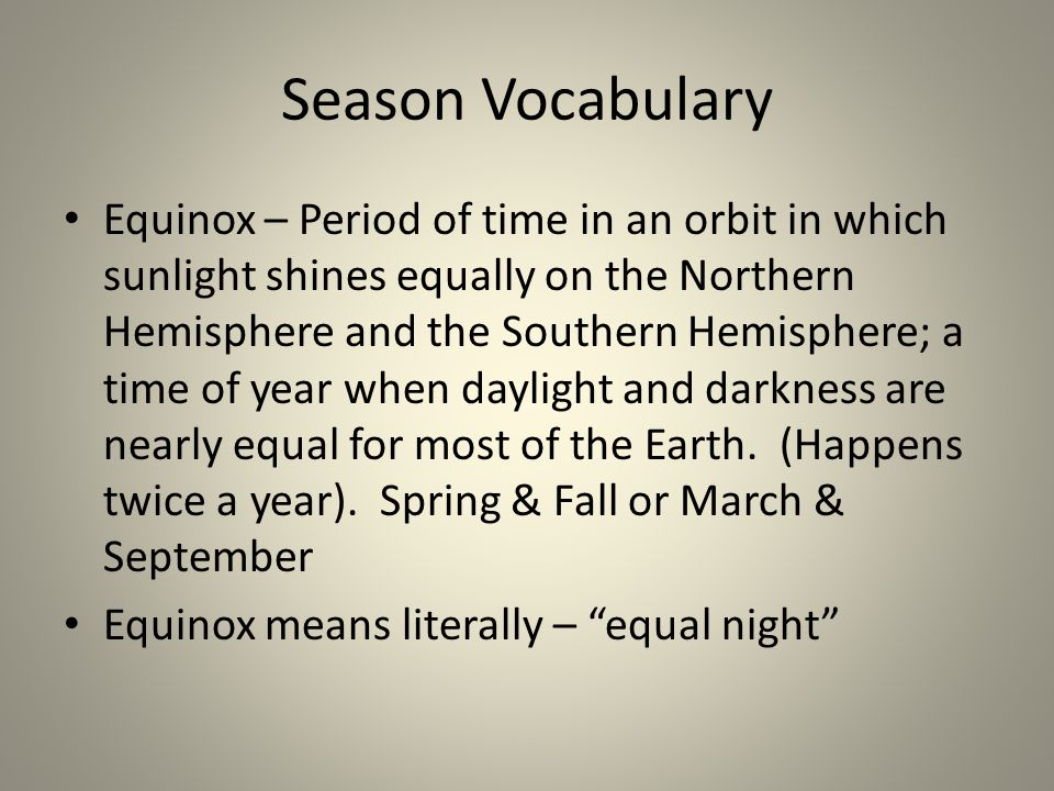 Season Vocabulary
