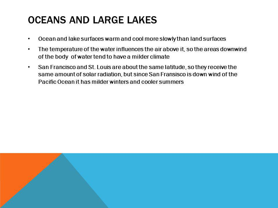 Oceans and large lakes Ocean and lake surfaces warm and cool more slowly than land surfaces.