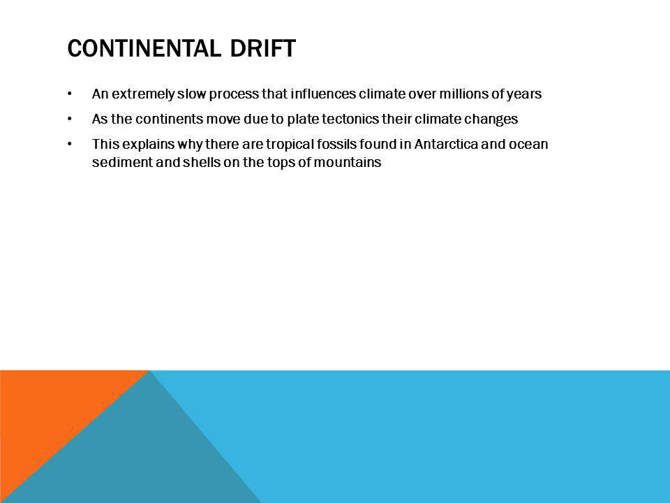 Continental drift An extremely slow process that influences climate over millions of years.