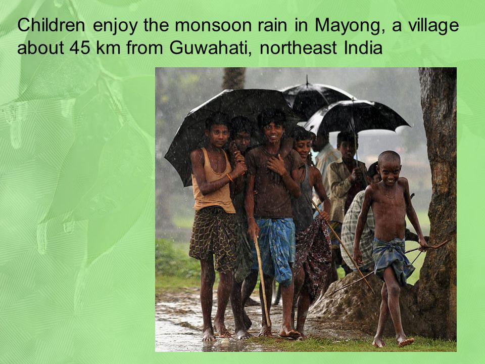 Children enjoy the monsoon rain in Mayong, a village about 45 km from Guwahati, northeast India