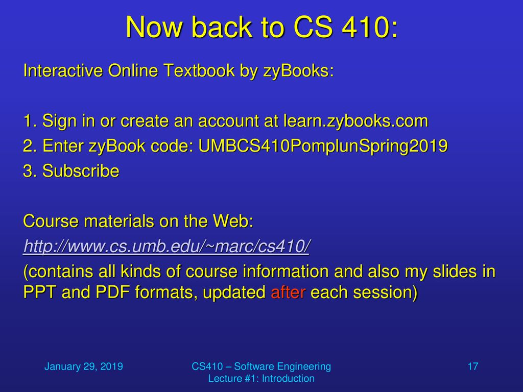 Welcome to CS 410 – Introduction to Software Engineering