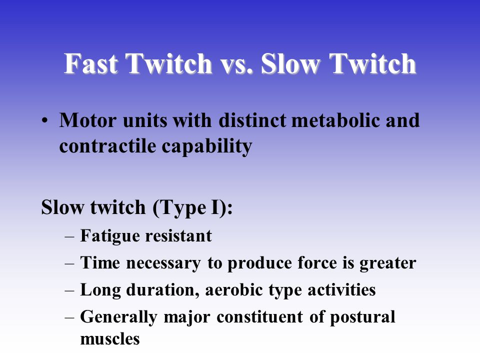 Fast Twitch vs. Slow Twitch