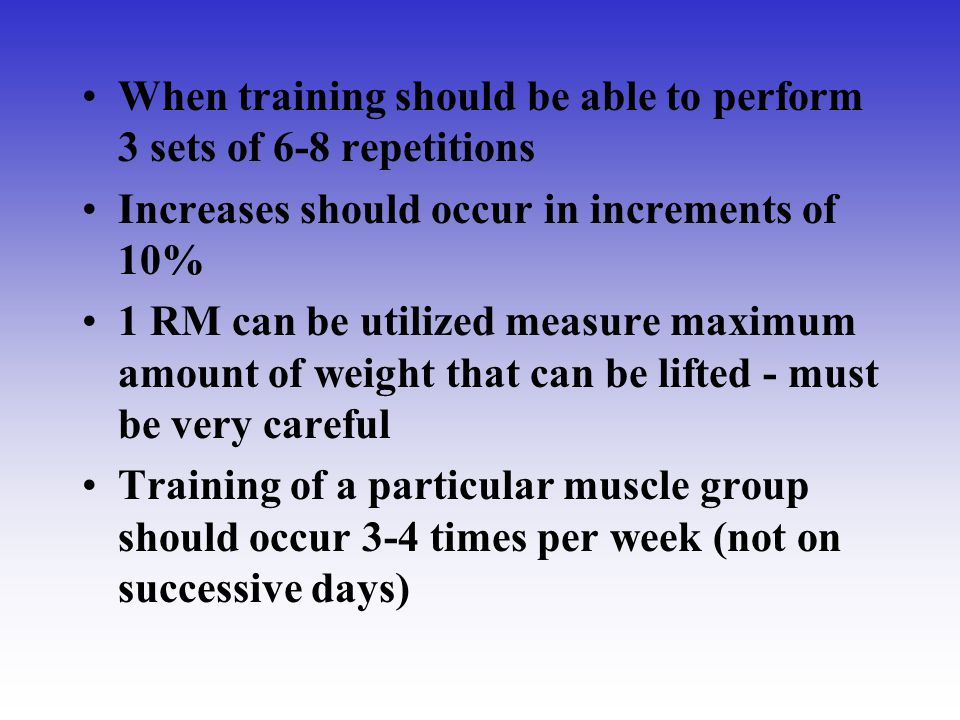 When training should be able to perform 3 sets of 6-8 repetitions