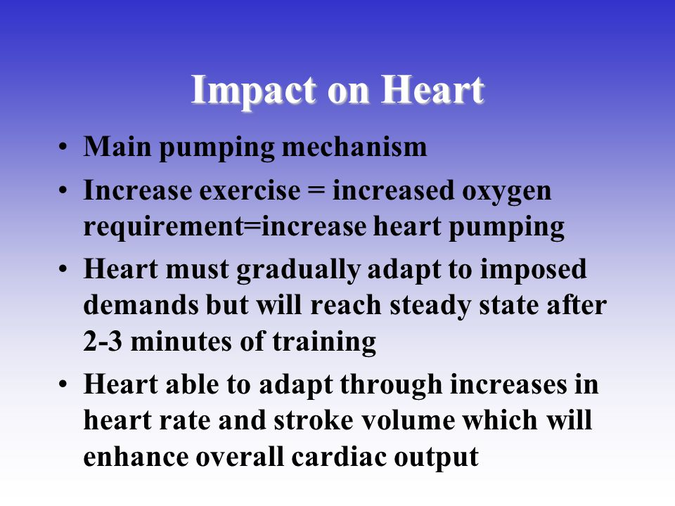 Impact on Heart Main pumping mechanism