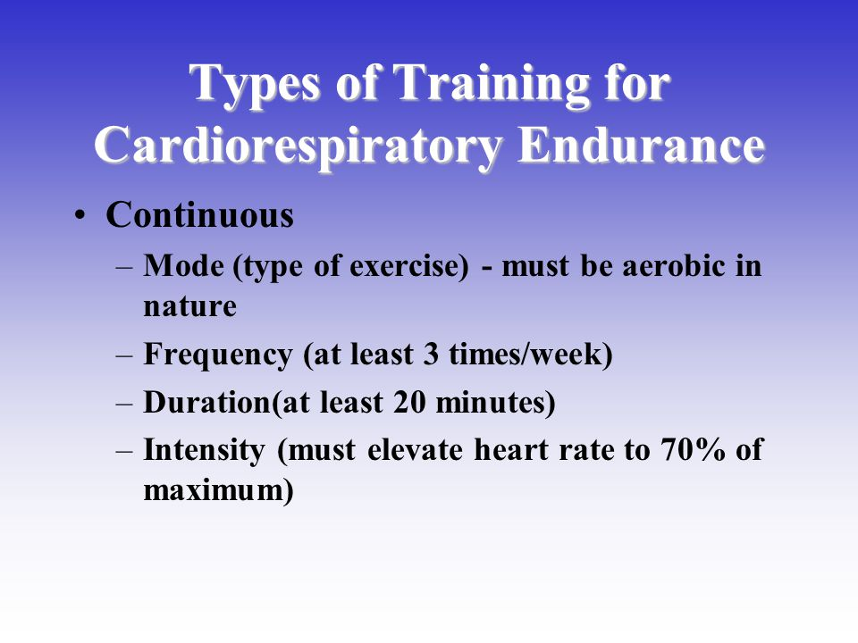Types of Training for Cardiorespiratory Endurance
