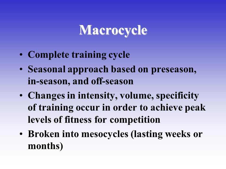 Macrocycle Complete training cycle