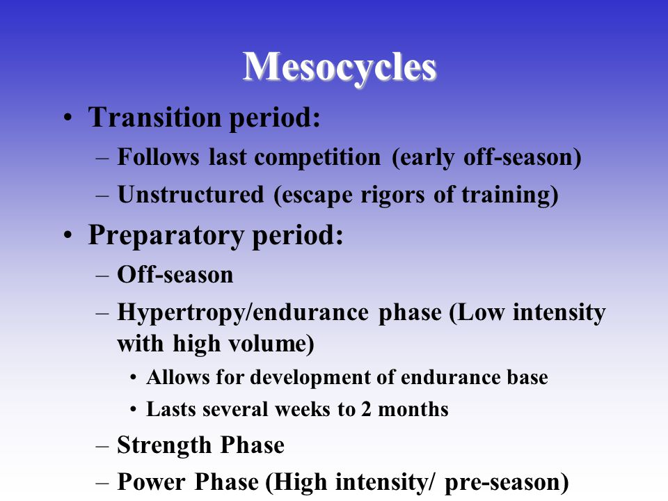 Mesocycles Transition period: Preparatory period: