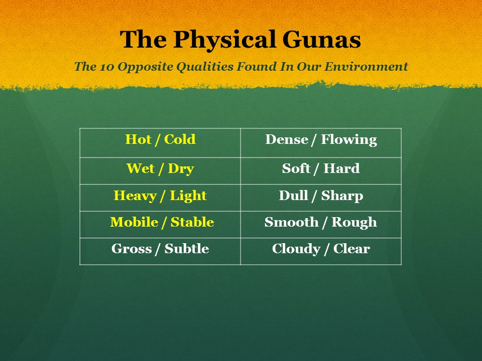 The Physical Gunas The 10 Opposite Qualities Found In Our Environment