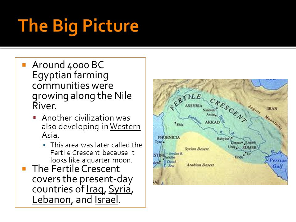 The Big Picture Around 4000 BC Egyptian farming communities were growing along the Nile River.