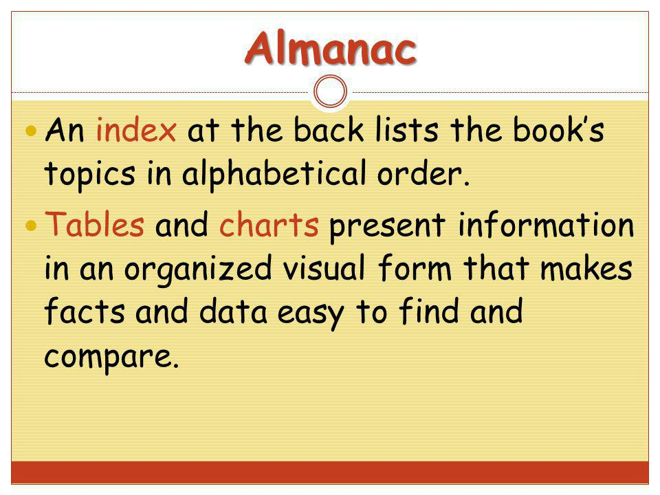 Almanac An index at the back lists the book's topics in alphabetical order.