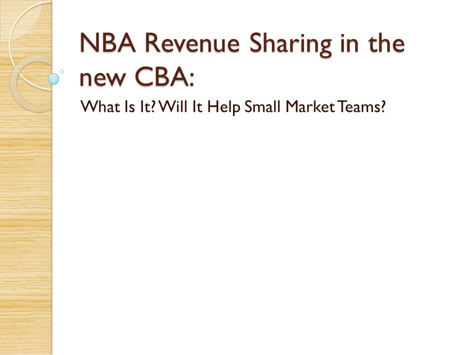 NBA Revenue Sharing in the new CBA: