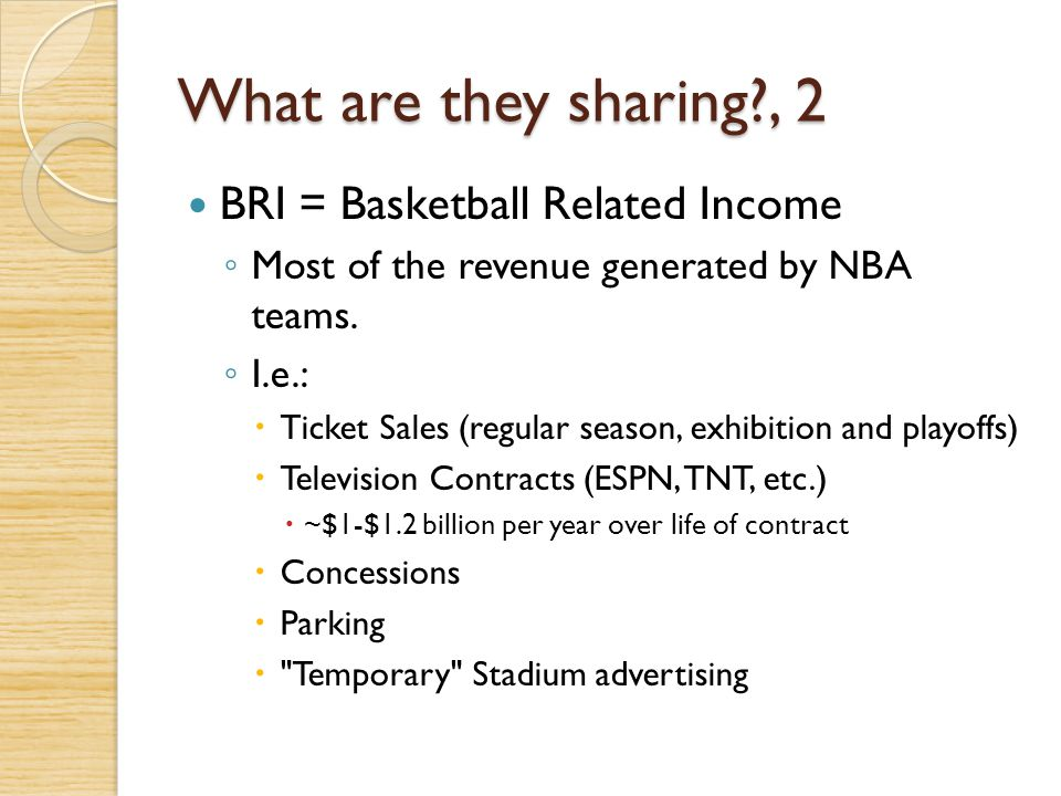 What are they sharing , 2 BRI = Basketball Related Income