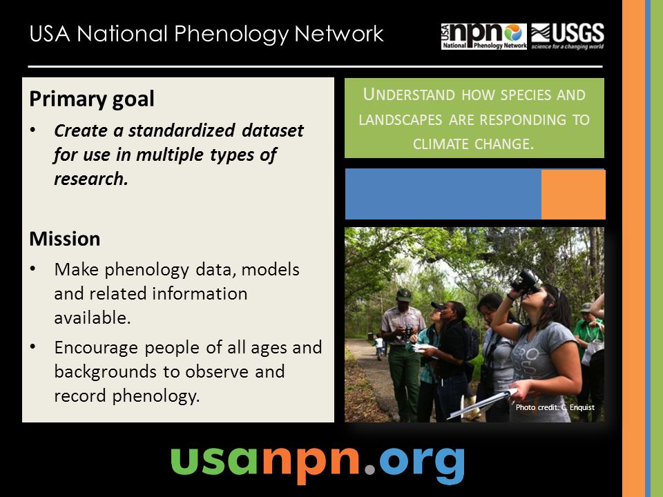 Primary goal USA National Phenology Network Mission