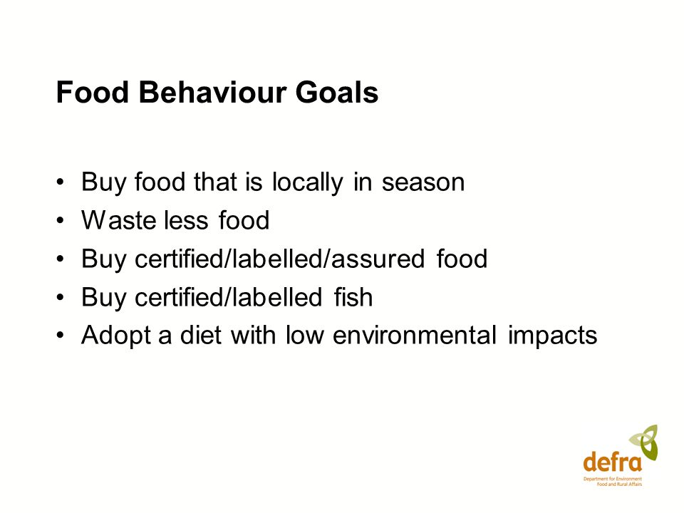 Food Behaviour Goals Buy food that is locally in season