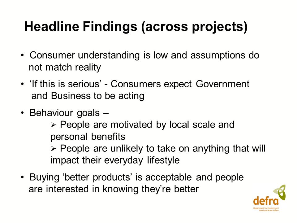 Headline Findings (across projects)