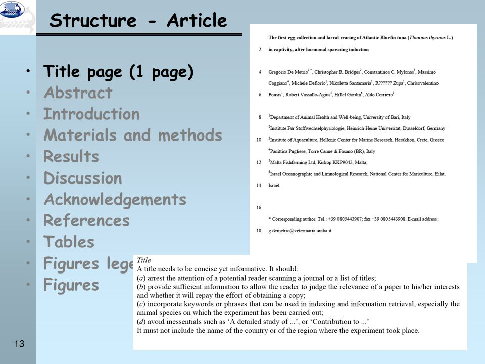 Structure - Article Title page (1 page) Abstract Introduction