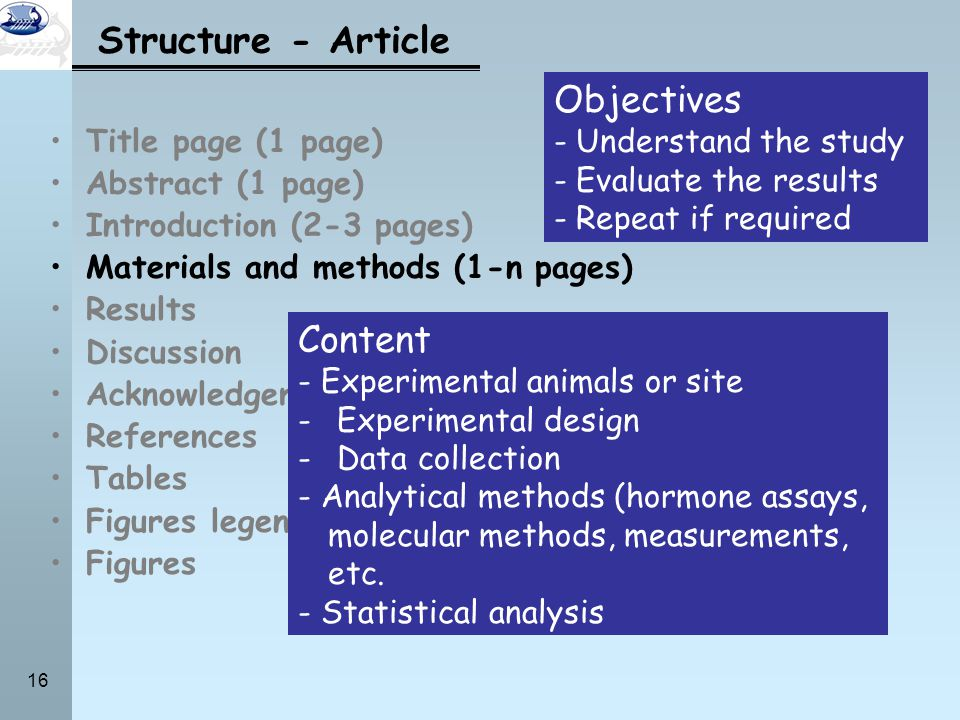 Structure - Article Objectives Content Understand the study