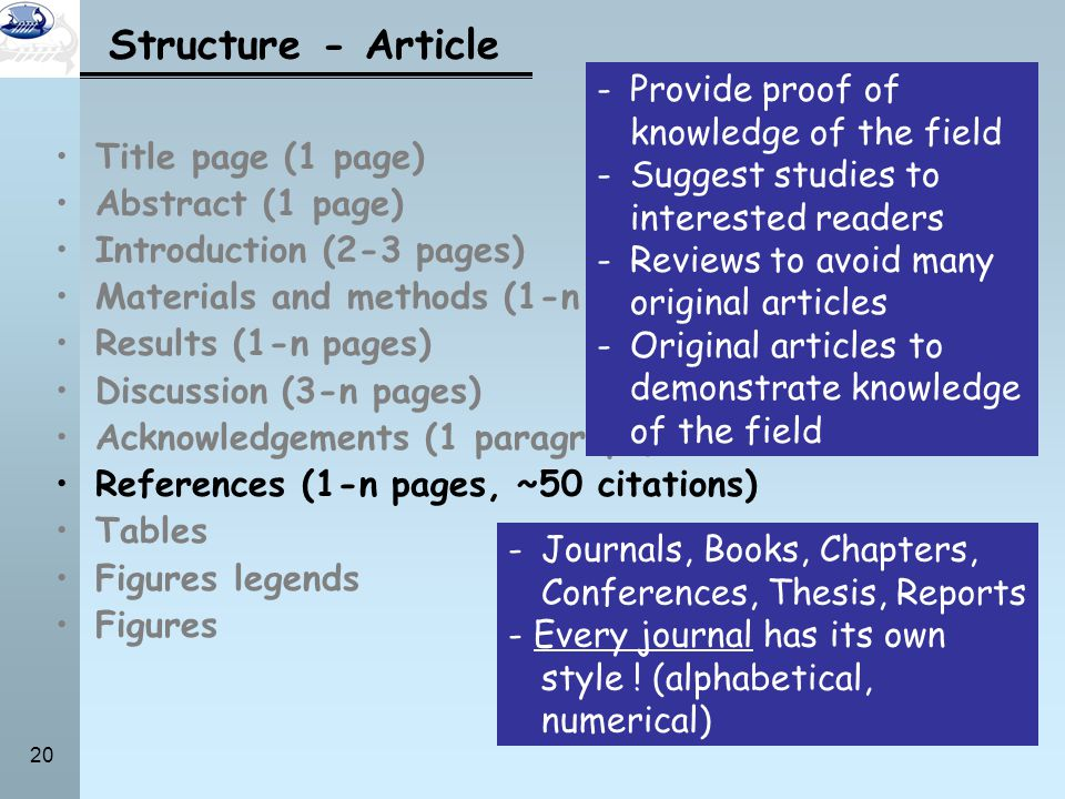 Structure - Article Provide proof of knowledge of the field