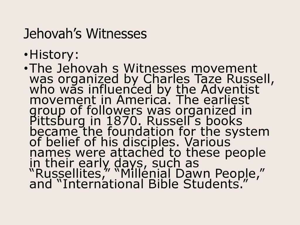 Jehovah's Witnesses  - ppt download
