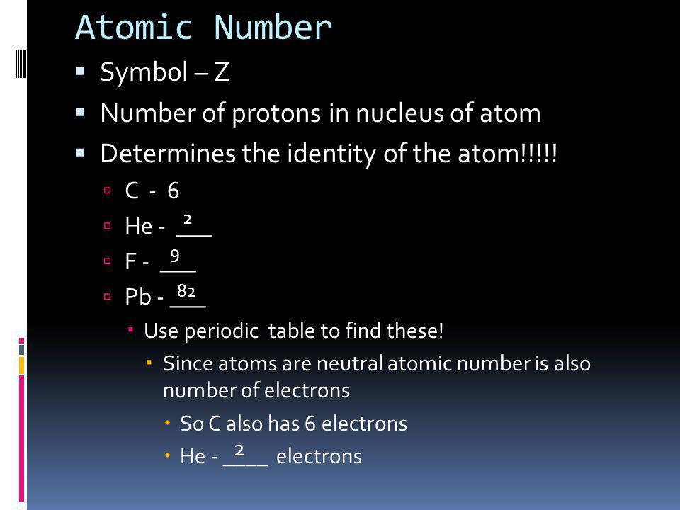 Atomic Number Symbol – Z Number of protons in nucleus of atom