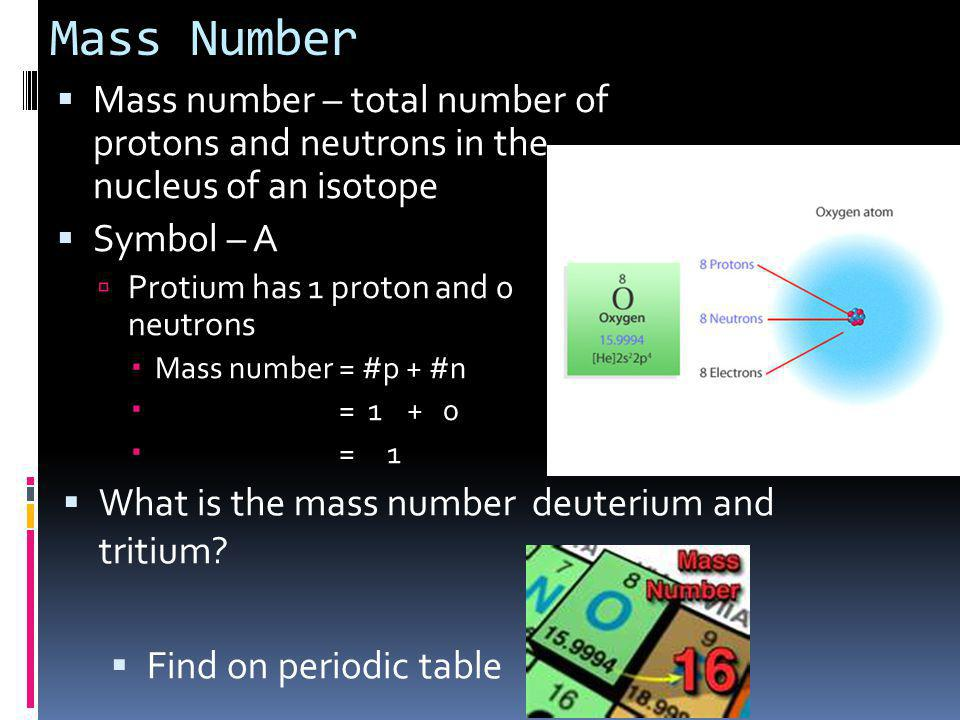 Mass Number Mass number – total number of protons and neutrons in the nucleus of an isotope. Symbol – A.