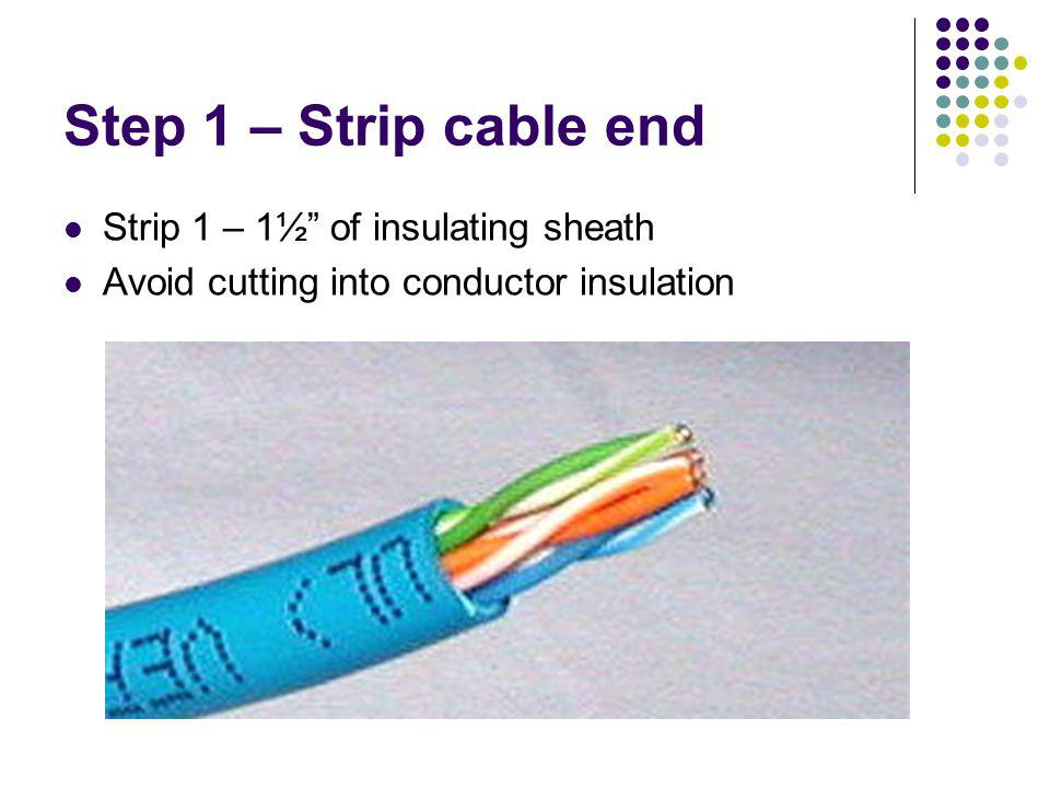 Step 1 – Strip cable end Strip 1 – 1½ of insulating sheath