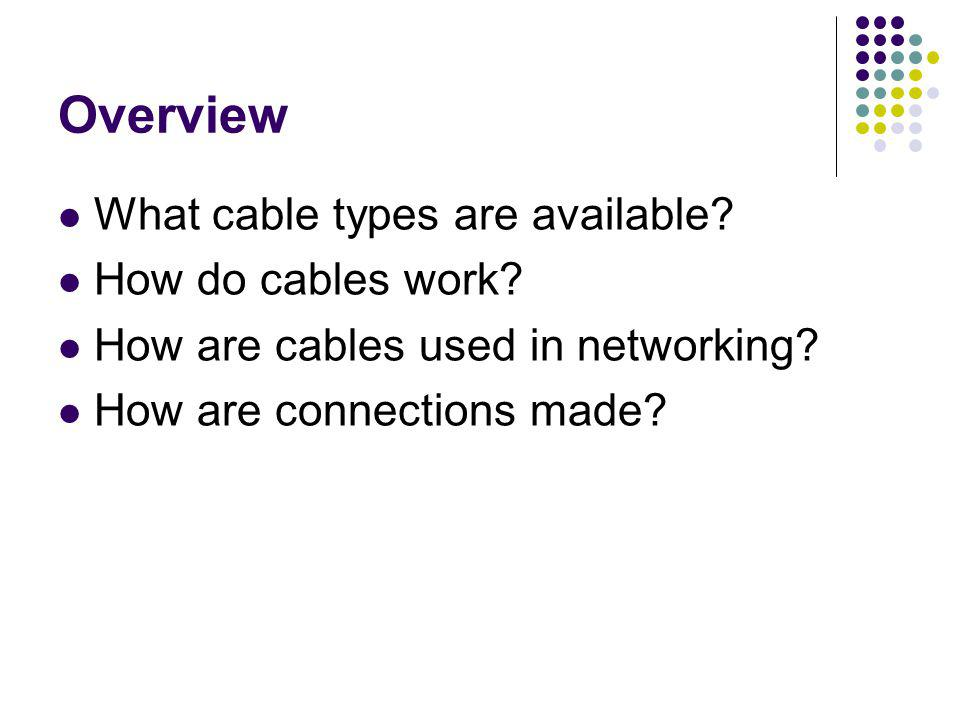 Overview What cable types are available How do cables work