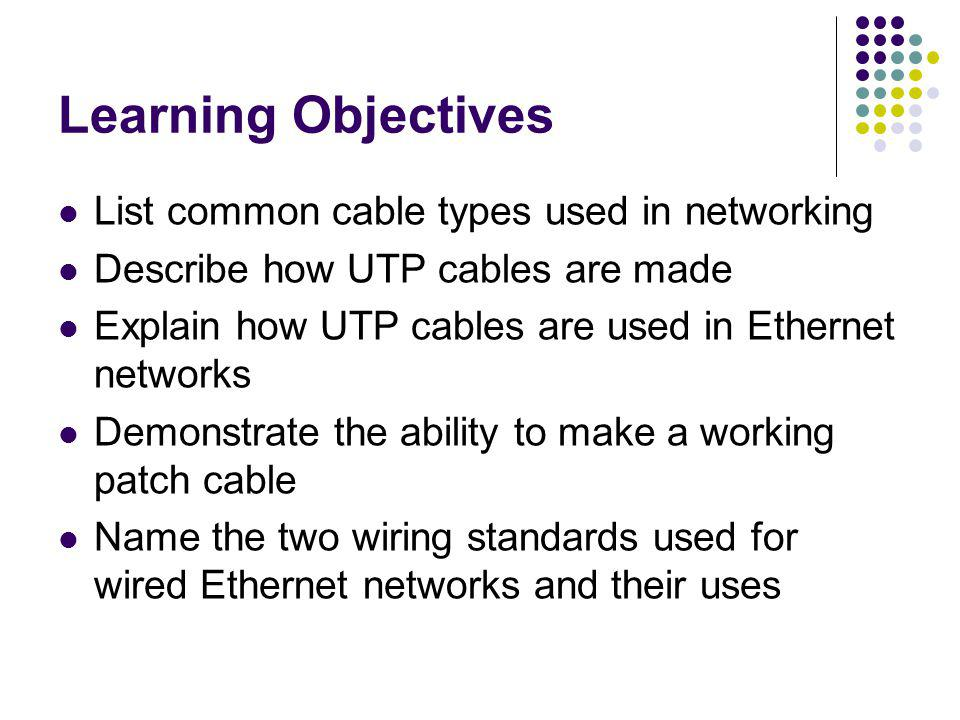 Learning Objectives List common cable types used in networking