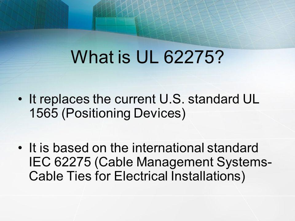 What is UL 62275 It replaces the current U.S. standard UL 1565 (Positioning Devices)