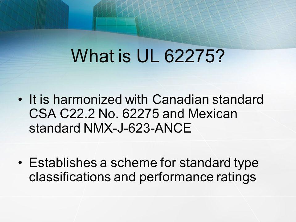 What is UL 62275 It is harmonized with Canadian standard CSA C22.2 No. 62275 and Mexican standard NMX-J-623-ANCE.